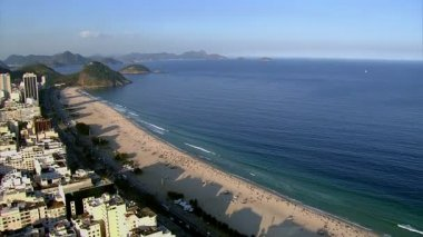 Flying over Copacabana Beach — Stock Video