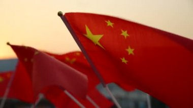 Souvenir Chinese flags — Stock Video