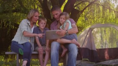 Family using digital tablet — Stock Video
