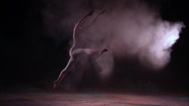 Colored powder and dancing girl — Stock Video
