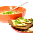 Bowl of soup cabbage dish sandwich bread bacon onion — Stock Photo #66114429