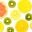 Background of different kinds citrus fruits and kiwis — Stock Photo #66427127