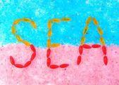 Inscription on sea salt — Stock Photo