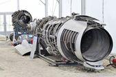 Disassembled jet aircraft — Stock Photo