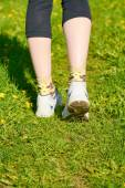 Girl running in the park — Stock Photo