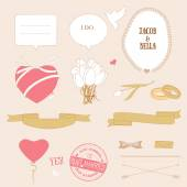 Valentine's Day Romantic Love Set, Vector Illustration — Vetor de Stock