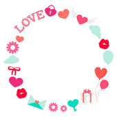 Valentine Day Romantic Love Round Frame Flat Vector Illustration — Stock Vector