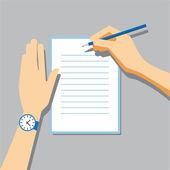 Paper Signing Flat Vector Illustration — Stok Vektör