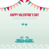 Valentine Day Romantic Love Greeting Card Flat Vector Illustration — Stock Vector