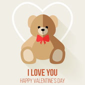 Valentine Day Romantic Love Greeting with Teddy Bear — Stock Vector