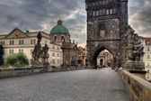 Old and historic Charles Bridge in Prague — Foto Stock