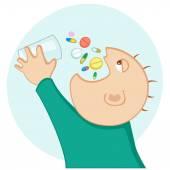Man eating a lot of medication — Stock Vector