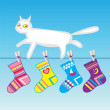 White cat on a clothes line — Stock Photo #65310429