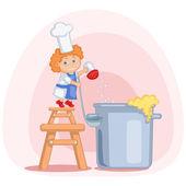 Little cook — Stock Vector