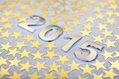 Gold 2015 New year text on christmas decoration — Stock Photo