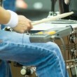 Hands drummer play music by drumsticks on the outdoor concert — Stock Video #64285503