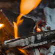 The firewood burning in the fire — Stock Video #64297101