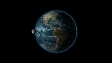 The rotation of the moon in its orbit of the earth, black BG, alpha — Stock Video