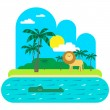 Palms and river with animals — Stock Vector #65257895