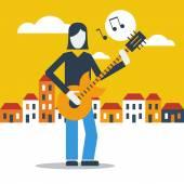 Guitar street performer — Stock Vector