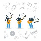 Postures of a guitarist and implements — Stock Vector