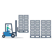 Auto truck loader moving pallet — Stock Vector