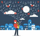 Saxophonist playing in the streets — Stock Vector