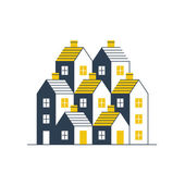 Group of houses. Real estate. — Cтоковый вектор