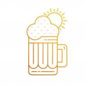 大杯的啤酒和乡村镇 — 图库矢量图片