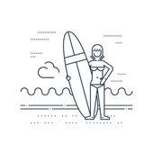 Zomervakantie. Surfen camp. — Stockvector