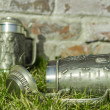 Two beer mugs on the grass near the brick wall — Stock Photo #67994133