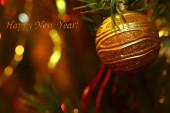 Karta nápis šťastný nový rok vánoční ozdoby — Stock fotografie