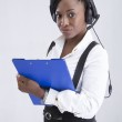 Support phone operator in headset isolated — Stock Photo #72597925