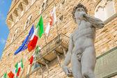 Michelangelo's David in the Piazza della Signoria in Florence — Foto de Stock