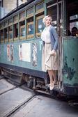European woman in retro style in Shanghai — Stock Photo