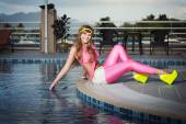 The girl at the pool — Stock Photo