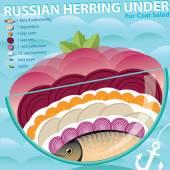 Herring under a fur coat — Stock Vector