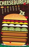 Lekkere grote cheeseburger met recept — Stockvector