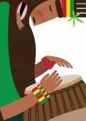 Reggae style man with drum — Stock Vector