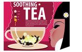 Girl Soothing tea — Stock Vector