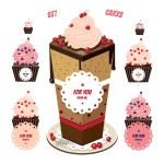 şeker cupcakes seti — Stok Vektör #66508089