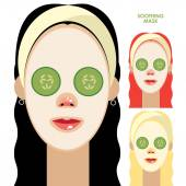 Women with facial soothing mask — Stock Vector
