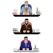 Businessmen sitting at working desk — Stock Vector
