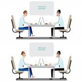 Office men sitting at working desk — Stock Vector