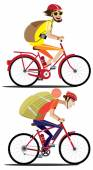 Two cyclists rides by bicycles — Stock Vector
