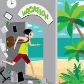 Office worker runs to vacation — Stock Vector