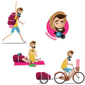 Set of backpackers — Stock Vector