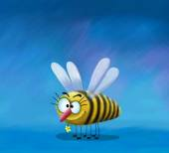 Bee sorridente con un fiore — Foto Stock