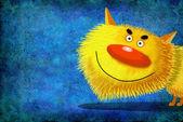 Vedoucí žluté s úsměvem kočky na modrém pozadí — Stock fotografie