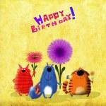 Happy Birthday Card Three Cats with Flowers — Stock Photo #78871772